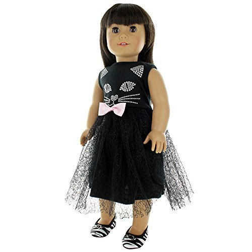 Pink Butterfly Closet Doll Clothes - Cute Cat Black Dress Outfit Fits American Girl Doll, My Life Doll, Our Generation and 18 inch -