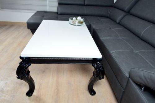 Barock Design Couchtisch 100x60x50cm Hochglanz weiss schwarz Lack Tisch Sofa