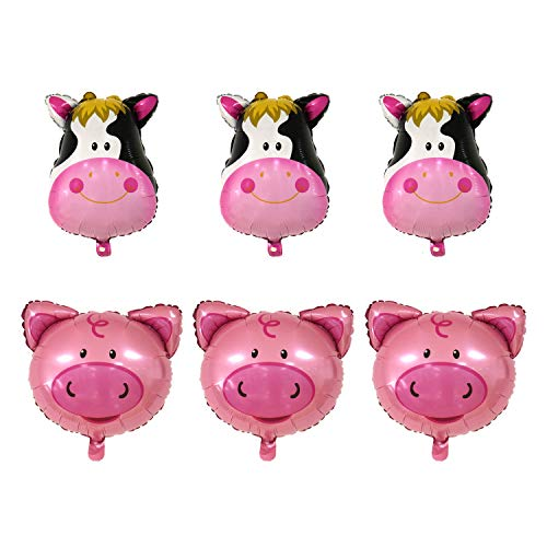 JETEHO 6Pcs Farm Animal Theme Balloons,Can Float Huge Animal Balloons for Children's Birthday Party Supplies Decoration(3X Gaint Cow & 3X Pig Mylar Foil Balloon) -