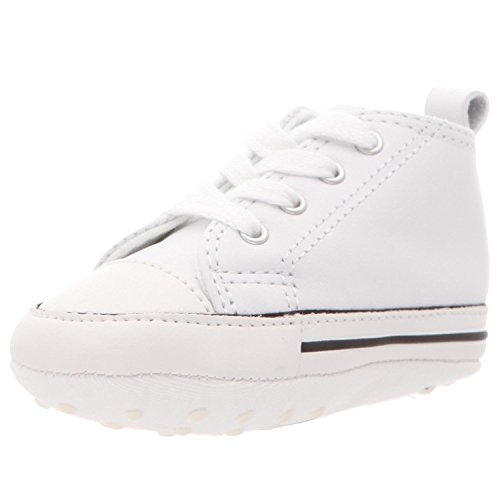 Converse First Star White Leather 81229 Crib Soft Bottom (1 Baby Crib size) - Baby Converse Shoes Size 1