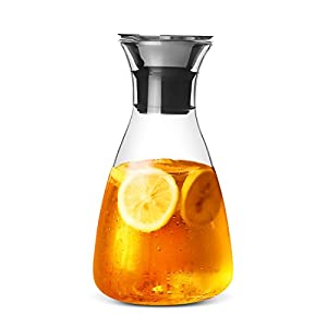 ONEISALL GYBL071 1500ML Glass Drip-free Carafe with Stainless Steel Flip-top Lid, Hot and Cold Glass Water Pitcher, Iced Tea, Beverage Glass Water Jug Juice Kettle, 495G