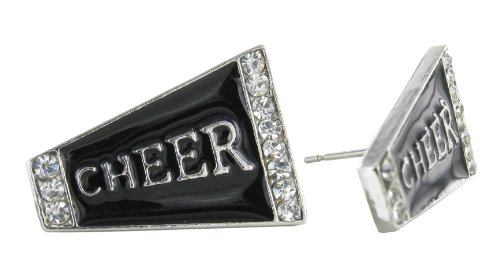 Flat Cheer Megaphone Rhinestone Stud Earrings - Black Enamel with Clear Crystals ()