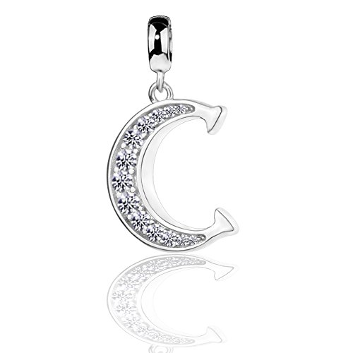 COTO 925 Sterling Silver Letter Beads Initial C Dangle Alphabet Charm for Snake Chain Bracelet ()