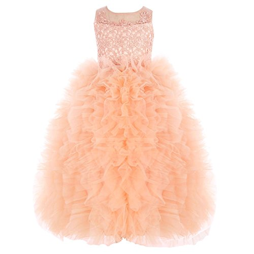 Cotton Tulle Lace Trim (FAYBOX Flower Girls' Lace Tulle Fluffy Dress Wedding Princess Ball Gown Orange 4)