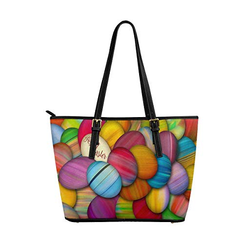 InterestPrint Women Totes Top Handle HandBags PU Leather Purse Painted Easter Eggs on a Pile