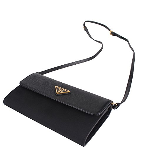 cb98c53366 Prada Tessuto Nylon & Textured Leather Crossbody Shoulder Wristlet Bag  1M1437, Nero Black