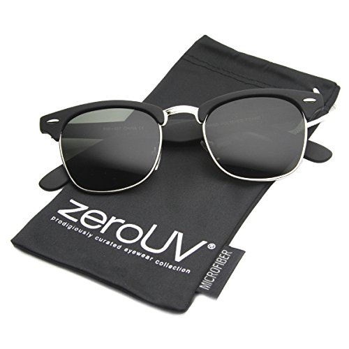 746cfa039f zeroUV - Premium Half Frame Horn Rimmed Sunglasses with Metal - Import It  All