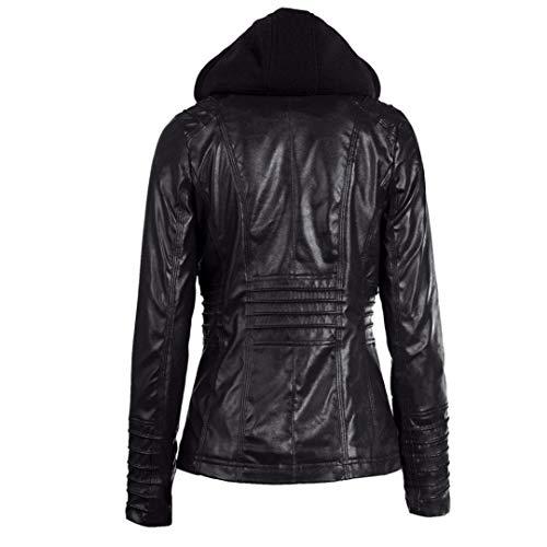 Rambling Womens Hooded Leather Jacket, Slim Overcoat Coat Lapel Removable Zipper Outwear Tops by Rambling (Image #2)