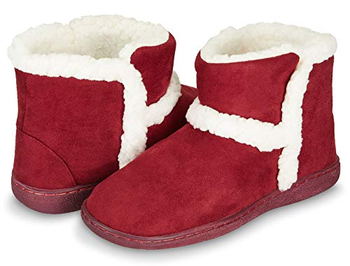 Floopi Womens Indoor Outdoor Bootie Slipper - Sherpa Fur Lined Clog W/Memory Foam (S, Burgundy-201)