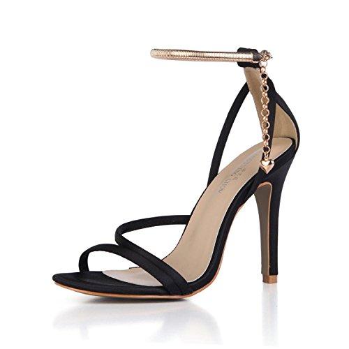 Best 4U? Women's Summer Sandals Faux Silk Comfortable Basic Pumps Peep toe Straps 10CM High Heels Rubber Sole Beads Pendant Wedding Shoes Black RwKplhDcns