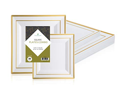 """""""Elite Selection"""" Square Plates Set Of 80 White Party Plastic Plates With Gold Rim Includes 40 Dinner Plates 10 Inch And 40 Salad/Dessert Plates 7 Inch from ELITE SELECTION"""