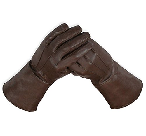Leather Gauntlet Gloves Long Arm Cuff (X-Large, Brown)