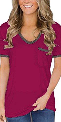 Godzgift Womens Casual V Neck Gray Trimmed Short Sleeve Pocket T-Shirts