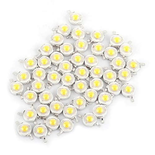 Nikou LED Lamp Beads - 50pcs SMD 1W LED Lamp Beads Bulb Chip for Floodlight Spotlight Energy-Saving Warm White