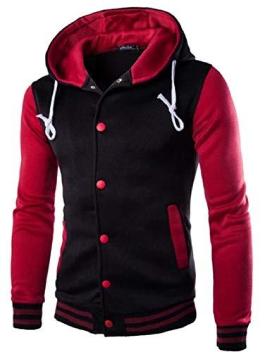 Contrast Wine Jacket Energy Jacket Coat Leisure Up Button Military Hoodie Men's Red Color I7qB6X