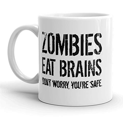 Zombies Eat Brains Mug Funny Halloween Coffee Cup - 11oz -