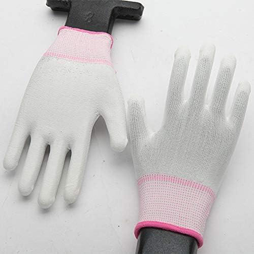 労働保護作業用手袋 帯電防止手袋ほこりのないPuコーティングされたパーム手袋浸したポリエステル保護手袋12ペア* 10パックランダムカラーデリバリー (Size : One size, UnitCount : 10 Packs)