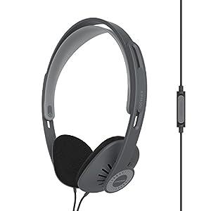 Koss KPH30ik On-Ear Headphones | In-Line Microphone & Remote | Lightweight | Deep Bass | Dark Grey