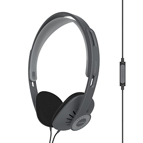 Koss KPH30ik On-Ear Headphones | In-Line Microphone & Remote | Lightweight | Deep Bass | Dark Grey