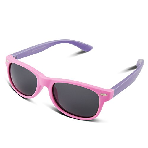 RIVBOS RBK004 Rubber Flexible Kids Polarized Sunglasses Age 3-10 (W - 7 Tech Sunglasses