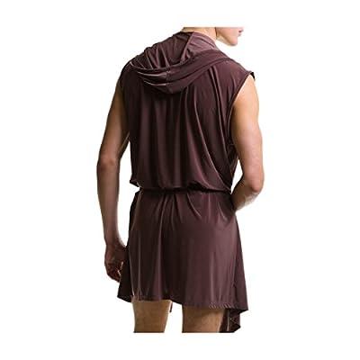 Ciel Infini Men's Silk Bathrobe Hooded Sleeveless Open Front Sleepwear Kimono