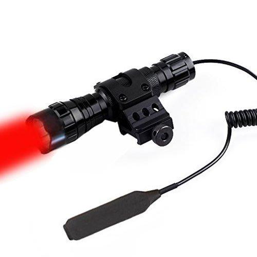 Windfire impermeable caza linterna luz roja LED Coyote Hog Hunting linterna táctica lámpara de luz con interruptor de presión y 45? Side Mount Picatinny Rail Desplazamiento lateral para anillo (batería no incluido)