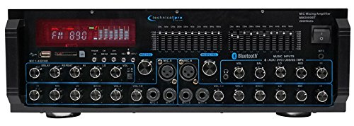 Technical Pro MM2000BT Powered Bluetooth Karaoke Mixer Amplifier Amp SD, USB