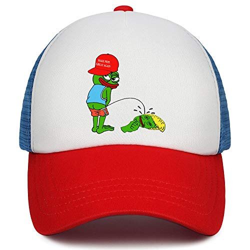 Frog Trucker Hat - flySpacs Boys& Girls Low Profile Dad Hat Baseball Cap Adjustable Kids Trucker Hats (Pepe The Frog)