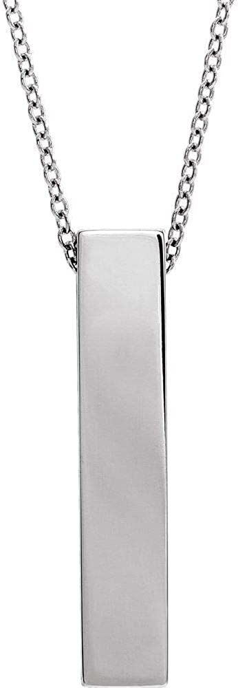 Solid Sterling Silver Sculptural Bar 16-18 Necklace