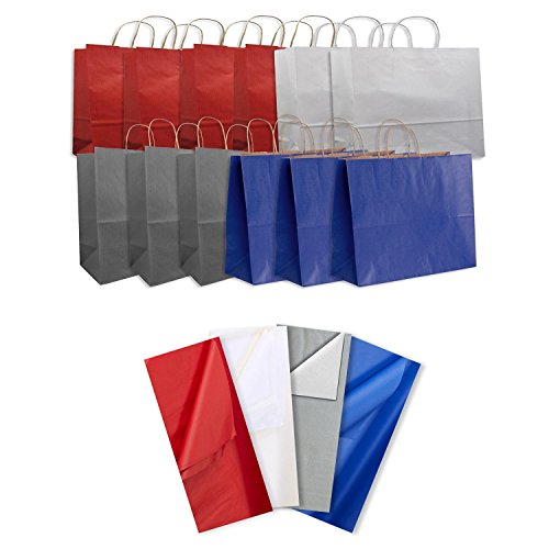 Jillson Roberts 12-Count Jumbo Kraft Bags with Tissue Solid Color Assortment, Red/Royal/White/Metallic Silver Jumbo Paper Tote
