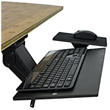 Uncaged Ergonomics (KT1-b) Ergonomic Under-Desk Computer Keyboard Tray w/ Negative Tilt. Affordable Adjustable Height & Angle Under desk Drawer, Tilting Mouse Pad Swivels 360