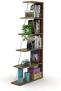 HomeCanvas RF160402 Canvas Modern Mini Book Shelves for Living Room or Study Room, Easy Assembly Book Shelf- Walnut and Chrome
