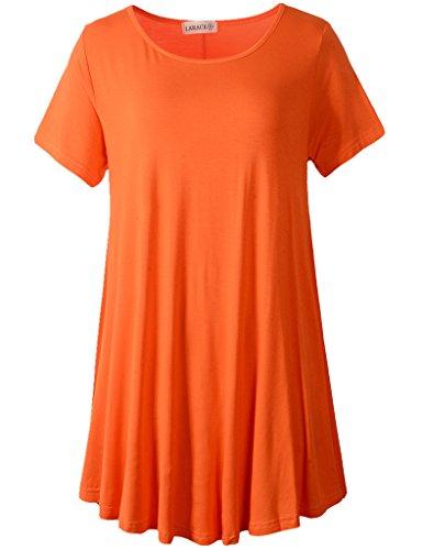 LARACE Women Short Sleeves Flare Tunic Tops for Leggings Flowy Shirt (S, - Shirt Tunic Orange
