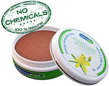 SanteFIX St John's Wort -No Chemicals- Skin Cream with Olive Oil for Acne & Hemorrhoid & Scar Removal & Wound Care & Stretch Mark & Bed Sore