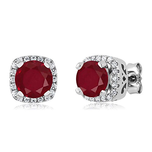 2.48 Ct Round Red Ruby 925 Sterling Silver Earrings by Gem Stone King