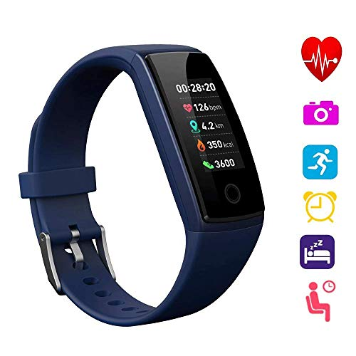 Fitness Tracker Watch, Bluetooth 4.0 Activity Tracker Wristband with 0.96 OLED Color Screen and Waterproof Heart Rate Monitor, Pedometer, GPS Tracking for Kids Women and Men, Android IOS Smart Phone