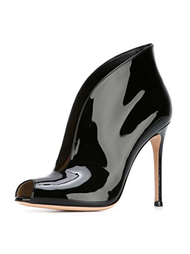 yBeauty Women's High Heel Peep Toe Pumps Cut Out Sandals Open Toe Boots Solid Patent Leather Shoes Patent Leather Black US6.5