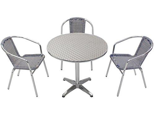 ガーデン4点セット ガーデンテーブル4点セット ガーデンテーブルセット 人工ラタン アルミチェア ダイニングチェア ガーデンチェア スタッキングチェア ビーチチェア スタッキング アウトドア リゾート ラタン (人工) 青 白 ブルー&ホワイト L24W-B L61 W80 B014GRJBKC