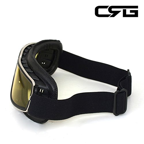 CRG Sports Vintage Aviator Pilot Style Motorcycle Cruiser Scooter Goggle T13 T13BCB - Parent (Yellow Lens Black Padding) by CRG Sports (Image #4)