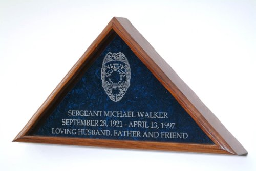 Flag-Display-Case-w-Police-Officer-Badge-for-5×95-Funeral-burial-coffin-flag-INCLUDES-3-LINES-OF-TEXT-PERSONALIZATION-Solid-Walnut-wood