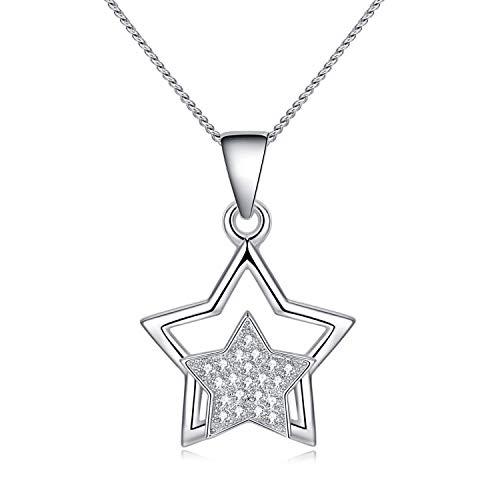 - MYVATN 925 Sterling Silver Twinkle Star Pendant Necklace for Girls & Women 18