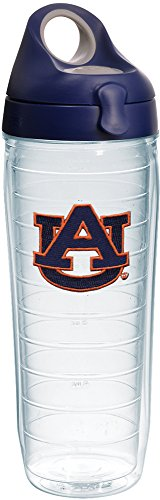 Tervis 1231918 Auburn Tigers Insulated Tumbler with Emblem and Navy with Gray Lid, 24oz Water Bottle, (Auburn Tigers Insulated Bottle)