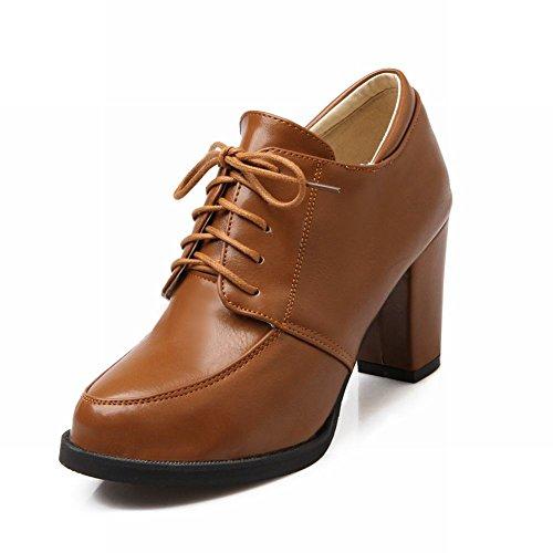 Latasa Womens Fashion Lace-up High Chunky Heel Oxford Boots brownish yellow eu6dpeFe