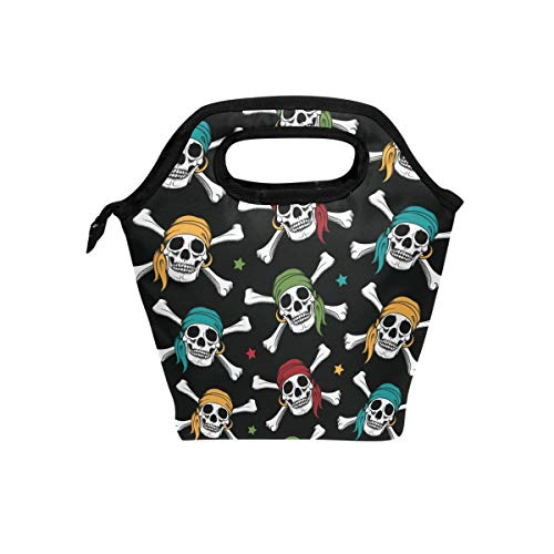 - Lunch Tote Bag Crossbone Skull Pirates Colorful Scarf Cooler Handbags with Zipper for Picnic