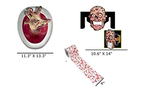 Zombie Hand Toilet Topper Cling, Zombie Face Toilet Paper Dispenser & Blood Splatter Toilet Paper   Perfect Halloween Decorations