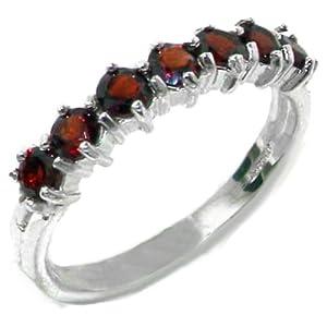 925 Sterling Silver Real Genuine Garnet Womans Eternity Ring