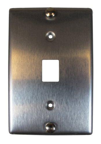 Allen Tel Products AT630B-6 Single Gang, 1 Port, 6 Position, 6 Conductor Wall Telephone Outlet Jack, Stainless Steel