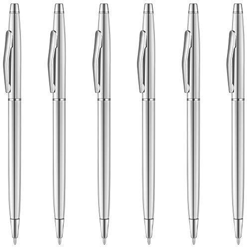 Unibene Slim Metallic Retractable Ballpoint Pens - Silver, Nice Gift for Business Office Students Teachers Wedding Christmas, Medium Point(1 mm) 6 Pack-Black ink