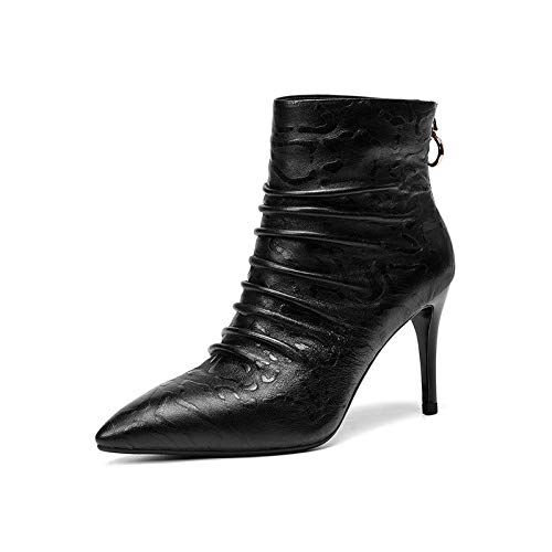 Courtes Bout Zipper Talons Stiletto Hauts Femmes Black Pointu Bottines wSZ0aHqx
