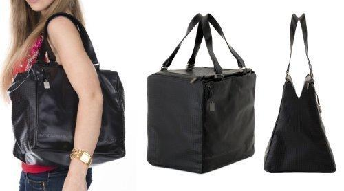 Mandarina Duck Desire Pelle Pferdeleder Koffer Handtasche Sporttasche Henkeltasche Reisetasche Tasche XXL Bag Schwarz 30x29x22 cm (BxHxT)